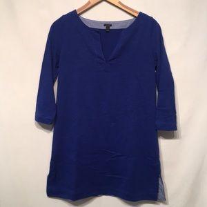 J. Crew Blue Cotton Long Sleeve Tunic Size Small